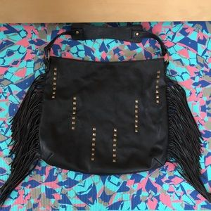 Carlos Santana fringe black faux leather hobo bag